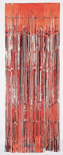 CURTAIN DOOR FOIL RED 1.2CM CUT 92 X 244CM